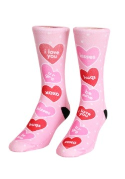Valentine's Day Candy Hearts Adult Crew Socks