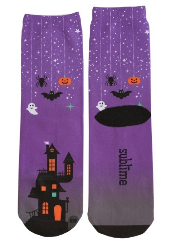 Halloween Haunted House Adult Crew Socks