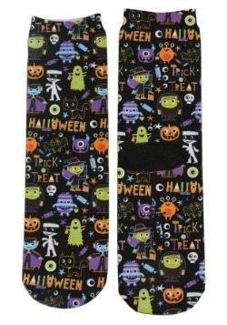 Halloween Monsters Adult Crew Socks