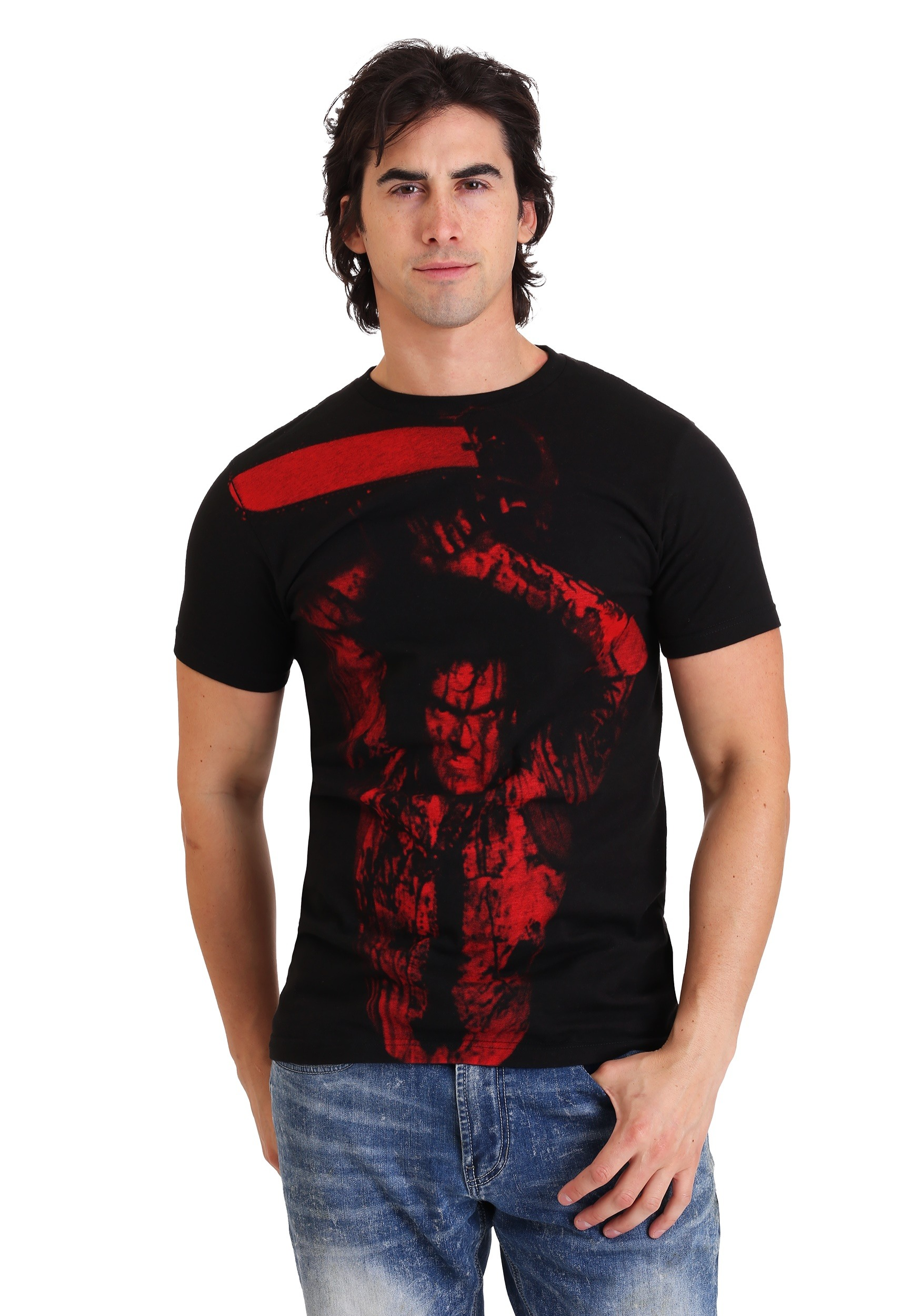 Mens Evil Dead 2 Blood Red Ash Williams Black T-Shirt