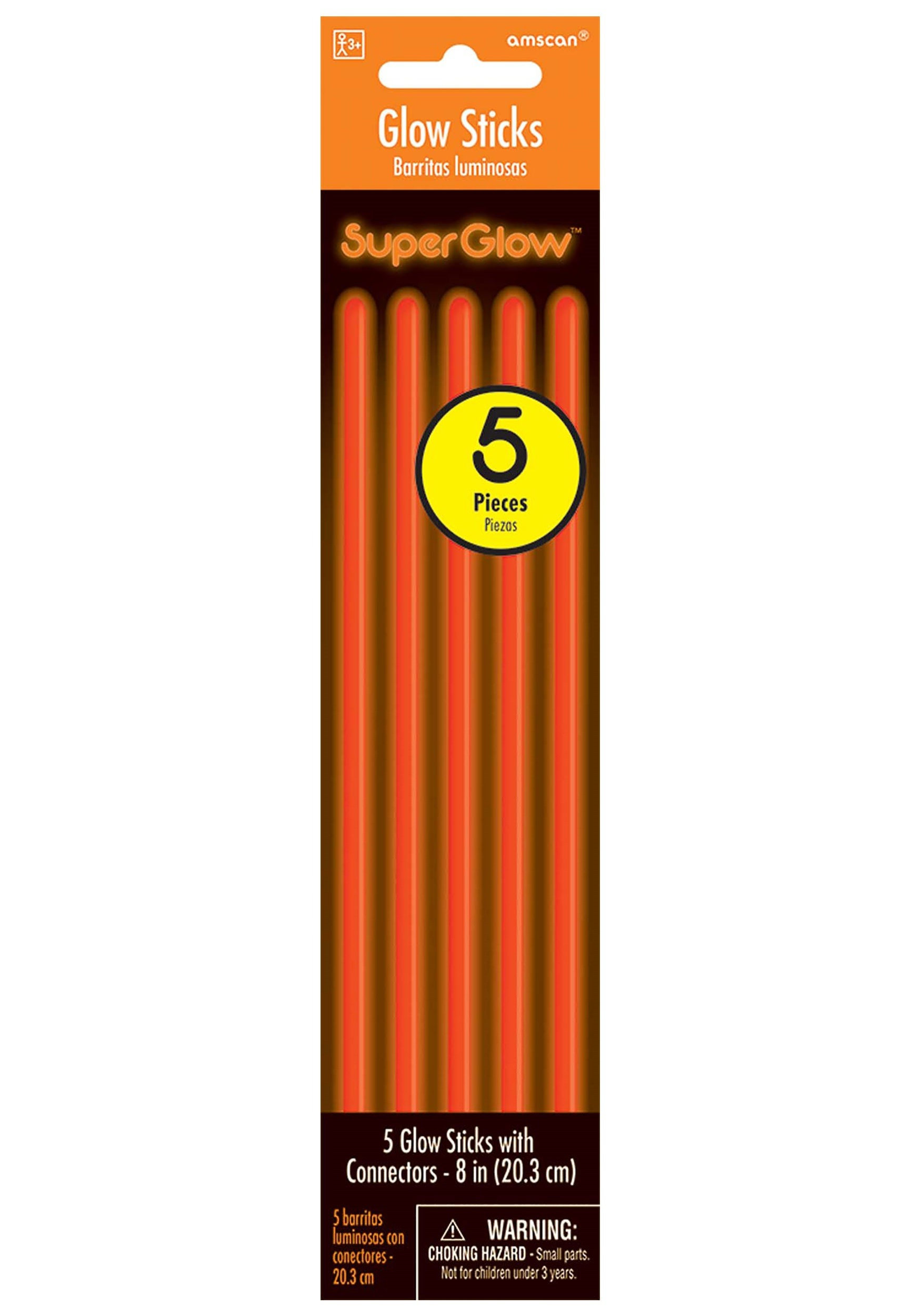 "8""_Orange_Glowsticks_Pack_of_5"