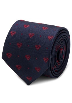 Superman Shield Navy and Red Dot Tie