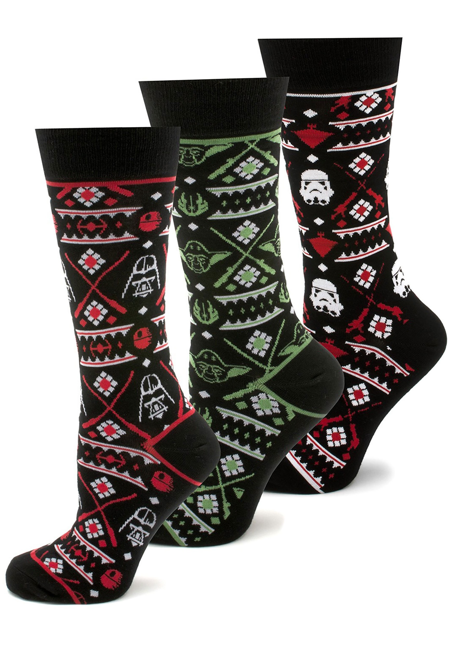 ad4a89ee8 Men s 3 Pair Set of Star Wars Holiday Ugly Sweater Socks