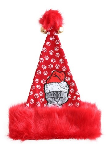 Ugly Holiday Angry Cat Santa Hat for Adults