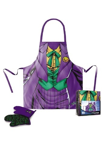 THE JOKER DC COMICS APRON AND OVEN MITT SET