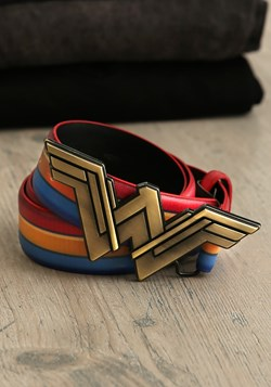 Wonder Woman Logo Gold Buckle Colored Striped Belt Update