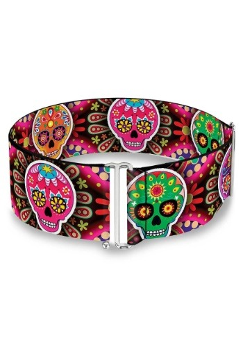 Sugar Skulls Multi Color Cinch Waist Belt