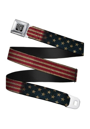 Vintage USA Flag Seatbelt Buckle Belt Update1