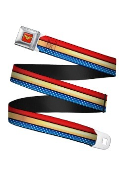 Wonder Woman Stripe/Stars Logo Seatbelt Buckle Belt Update1