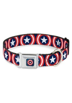 "Captain America Shield Logo Seatbelt Buckle Dog Collar- 1"" W"