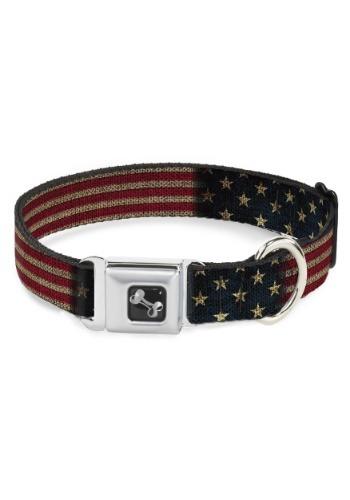"""Vintage US Flag Seatbelt Buckle Dog Collar- 1"""" Wide"""