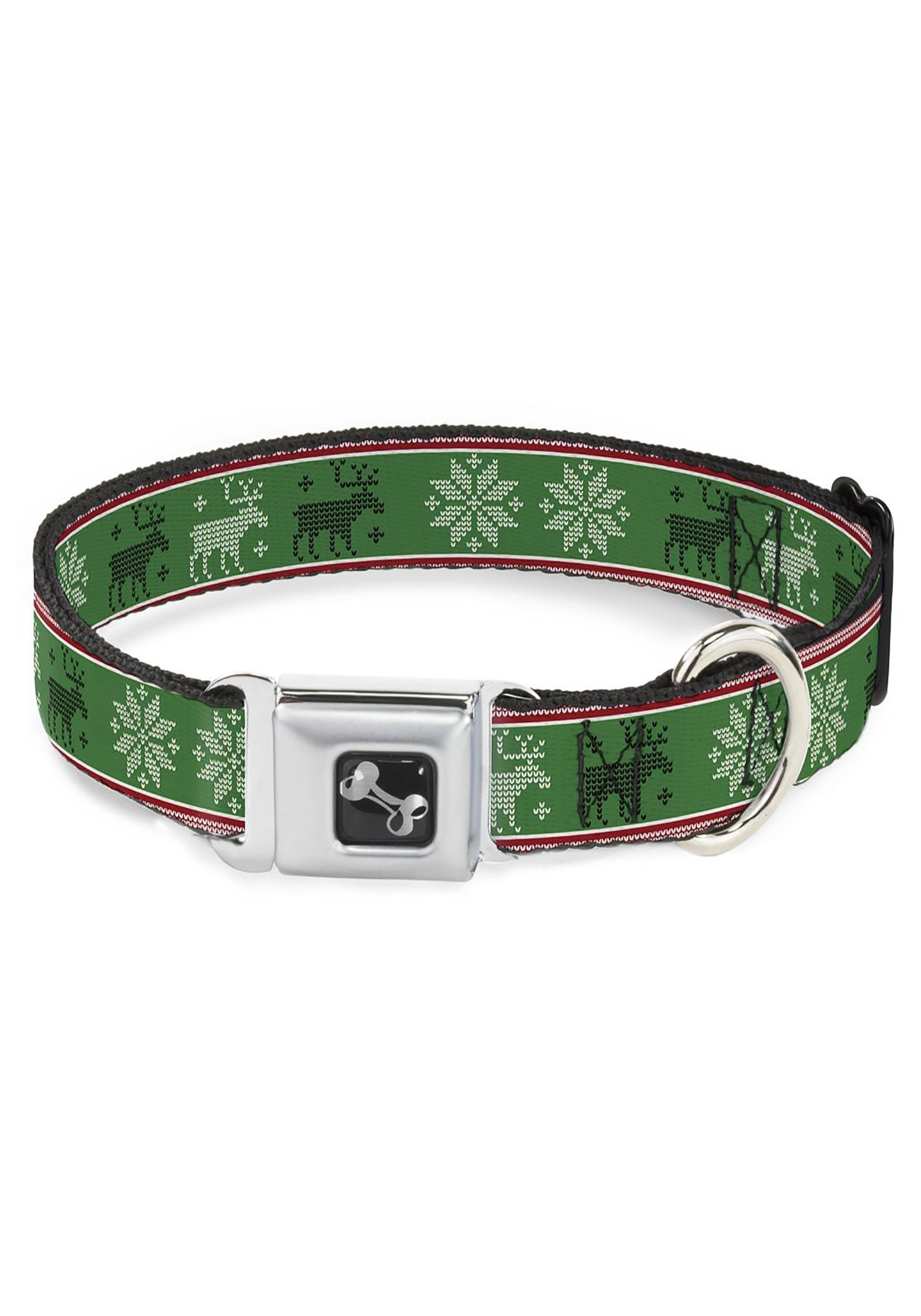 """1"""" Wide Christmas Pattern Moose/Snowflakes Green Seatbelt Buckle Dog Collar"""