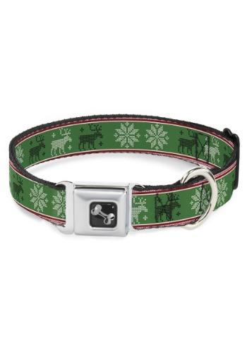 Christmas Pattern Moose/Snowflakes Green Seatbelt Buckle Dog