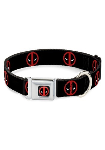 Marvel Logo Deadpool Black Seatbelt Buckle Dog Collar