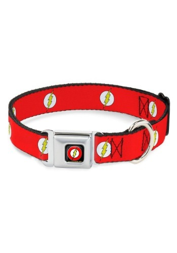"The Flash Logo- Red Seatbelt Buckle Dog Collar- 1"" Wide"