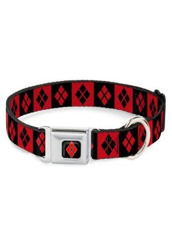 Diamonds Harley Quinn Red/Black Seatbelt Buckle Dog Collar-