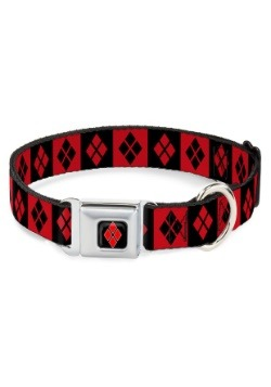 Diamonds Harley Quinn Red/Black Seatbelt Buckle Dog Collar-