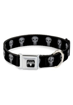 Marvel The Punisher Logo Black Seatbelt Buckle Dog Collar-