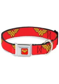 Wonder Woman Logo Red Seatbelt Buckle Dog Collar