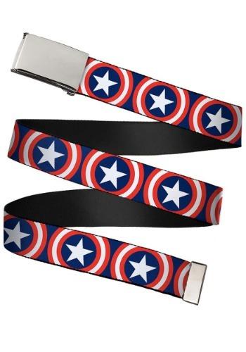 Marvel Captain America Shield Chrome Buckle Web Belt