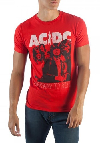 Mens ACDC Highway To Hell Red T Shirt