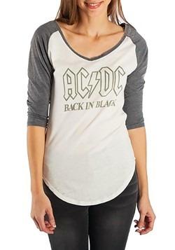Womens AC/DC Back in Black Short Sleeve Raglan Tee