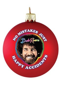 Bob Ross No Mistakes Glass Ball Christmas Ornament-update1