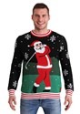 Tipsy Elves Mens Golfing Santa Ugly Christmas Sweater