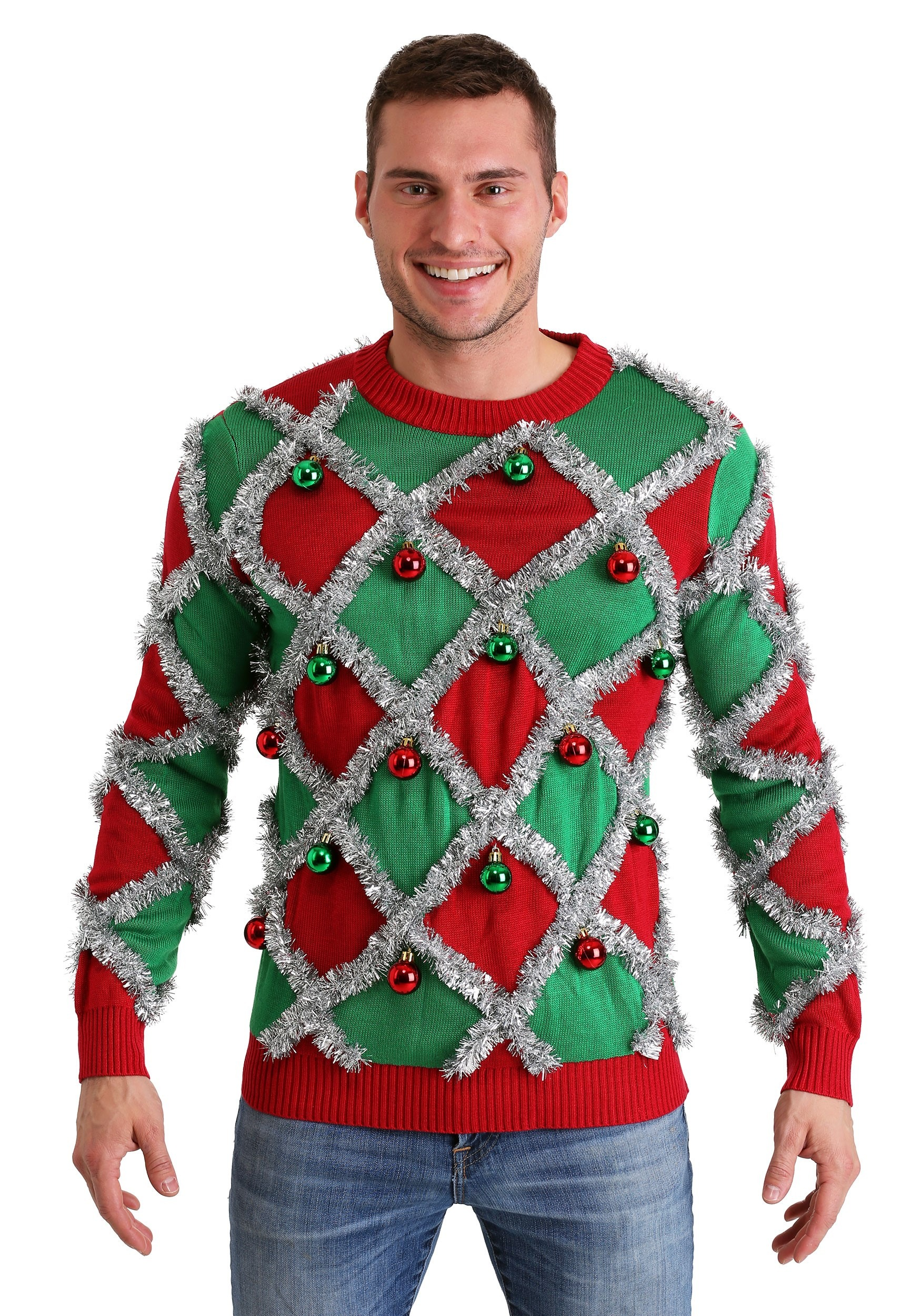bd6541d8731 Tipsy Elves Diamond Tinsel Men s Ugly Christmas Sweater