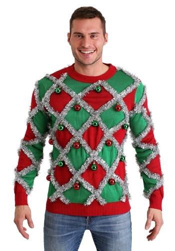 Men's Diamond Tinsel Ugly Christmas Sweater