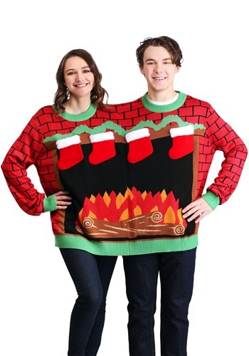 Fireplace Adult 2 Person Tipsy Elves Ugly Christmas Sweater