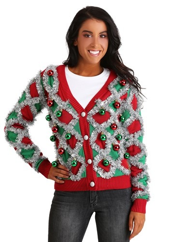 Tipsy Elves Womens Diamond Tinsel Cardigan