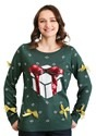 Tipsy Elves Women's Sequin Green Present Sweater