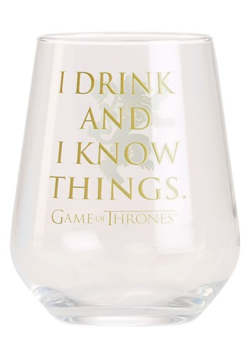 I Drink and I Know Things Game of Thrones Stemless Wine Glas