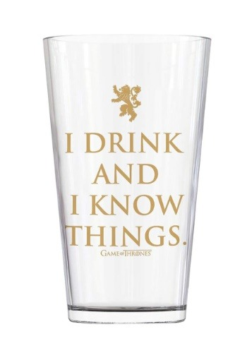 16oz Game of Thrones I Drink and I Know Things Pub Glass