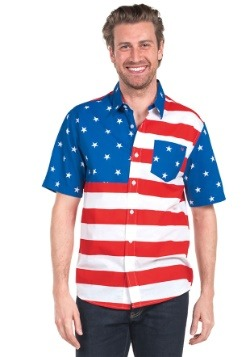 Tipsy Elves Mens USA Flag Hawaiian Shirt