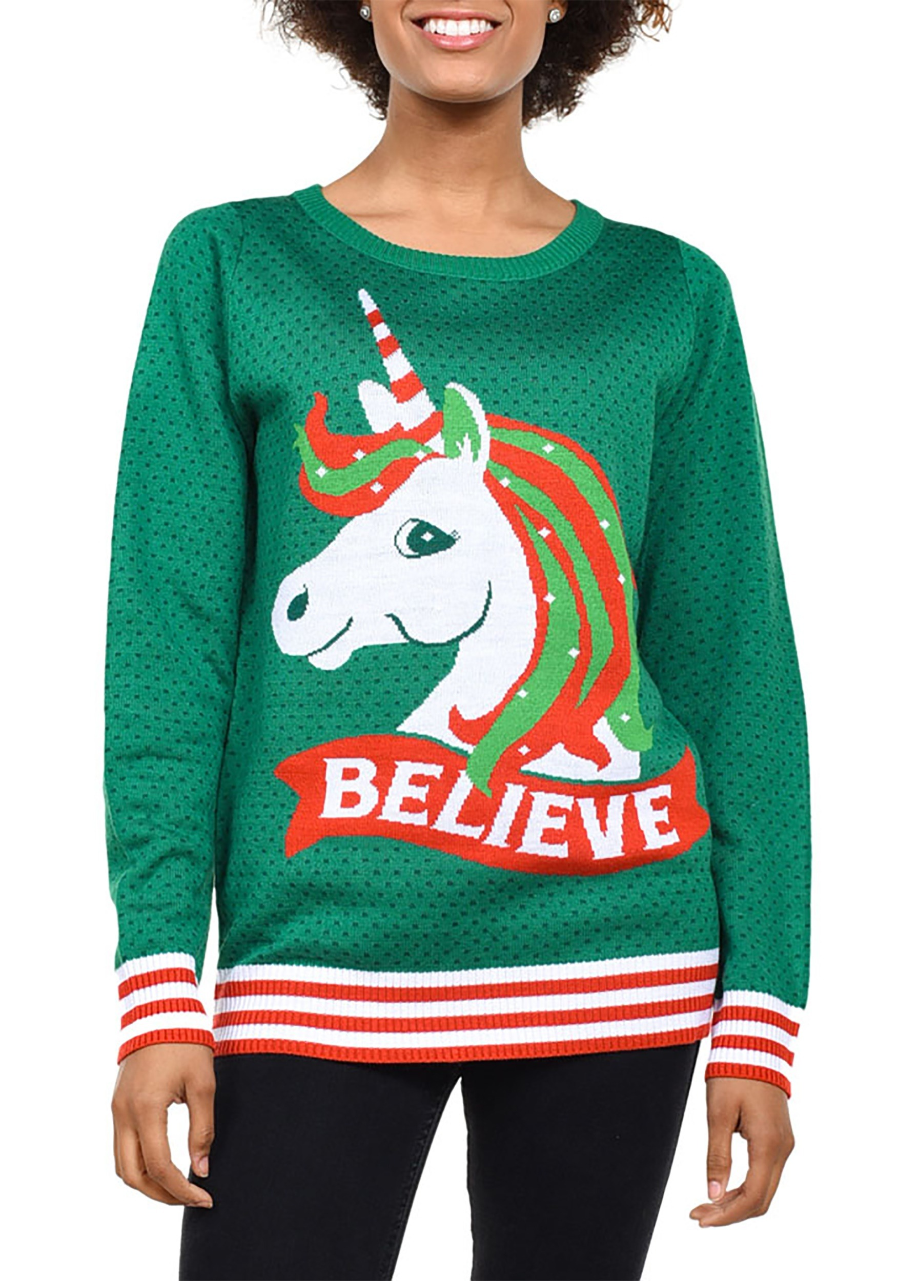 858c9fbfa8 Tipsy Elves Womens Believe Unicorn Ugly Christmas Sweater-up