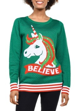 Tipsy Elves Womens Believe Unicorn Ugly Christmas Sweater-up