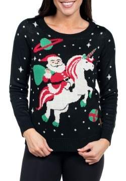 Tipsy Elves Womens Santa Riding Unicorn Christmas Sweater