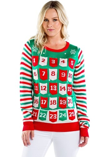 Women's Tipsy Elves Advent Calendar Ugly Christmas Sweater u