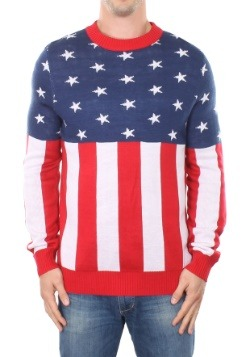 Tipsy Elves Mens American Flag Holiday Sweater