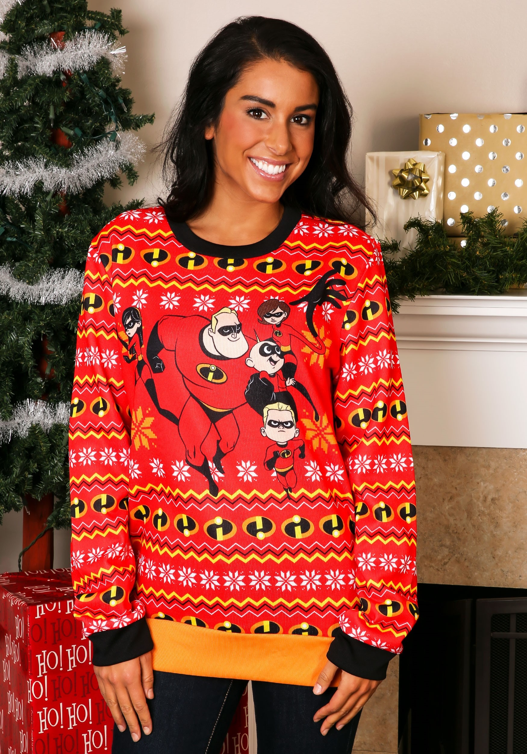 Ugly Christmas Sweater Kids.The Incredibles Adult Red Ugly Christmas Sweater