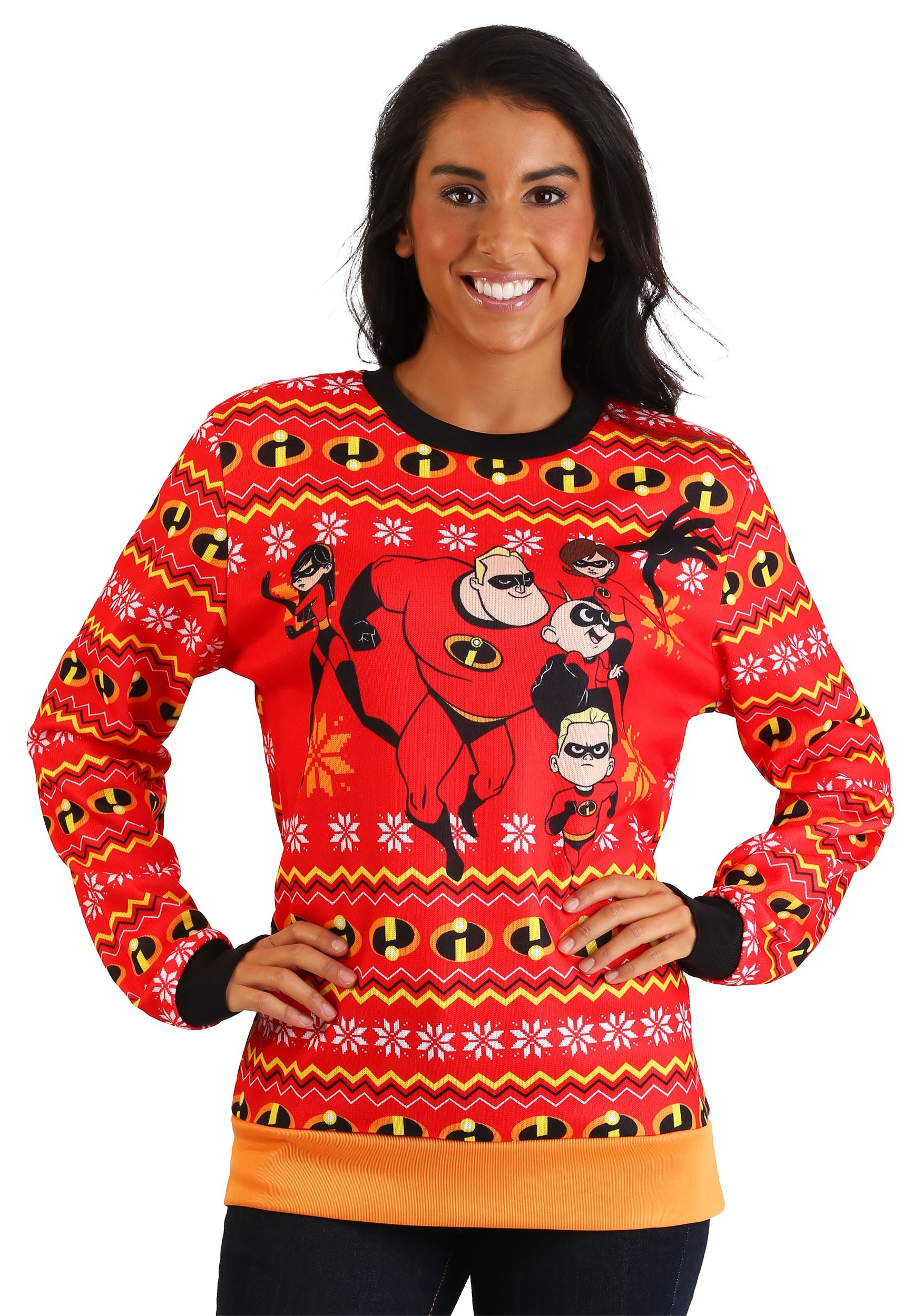 Ugliest Christmas Sweater.The Incredibles Adult Red Ugly Christmas Sweater