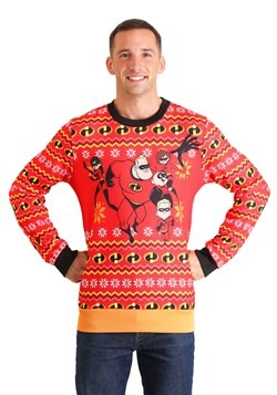Adult The Incredibles Red Ugly Christmas Sweater Alt 2
