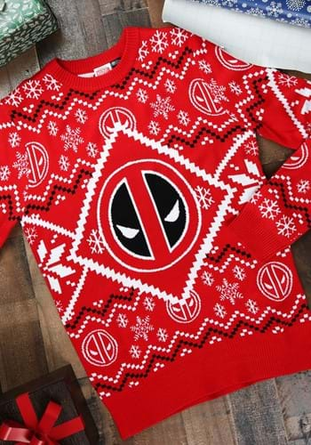 Deadpool Intarsia Logo Adult Knit Christmas Sweater update1