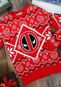 Deadpool Icon Red White Intarsia Knit Ugly Christmas Sweater
