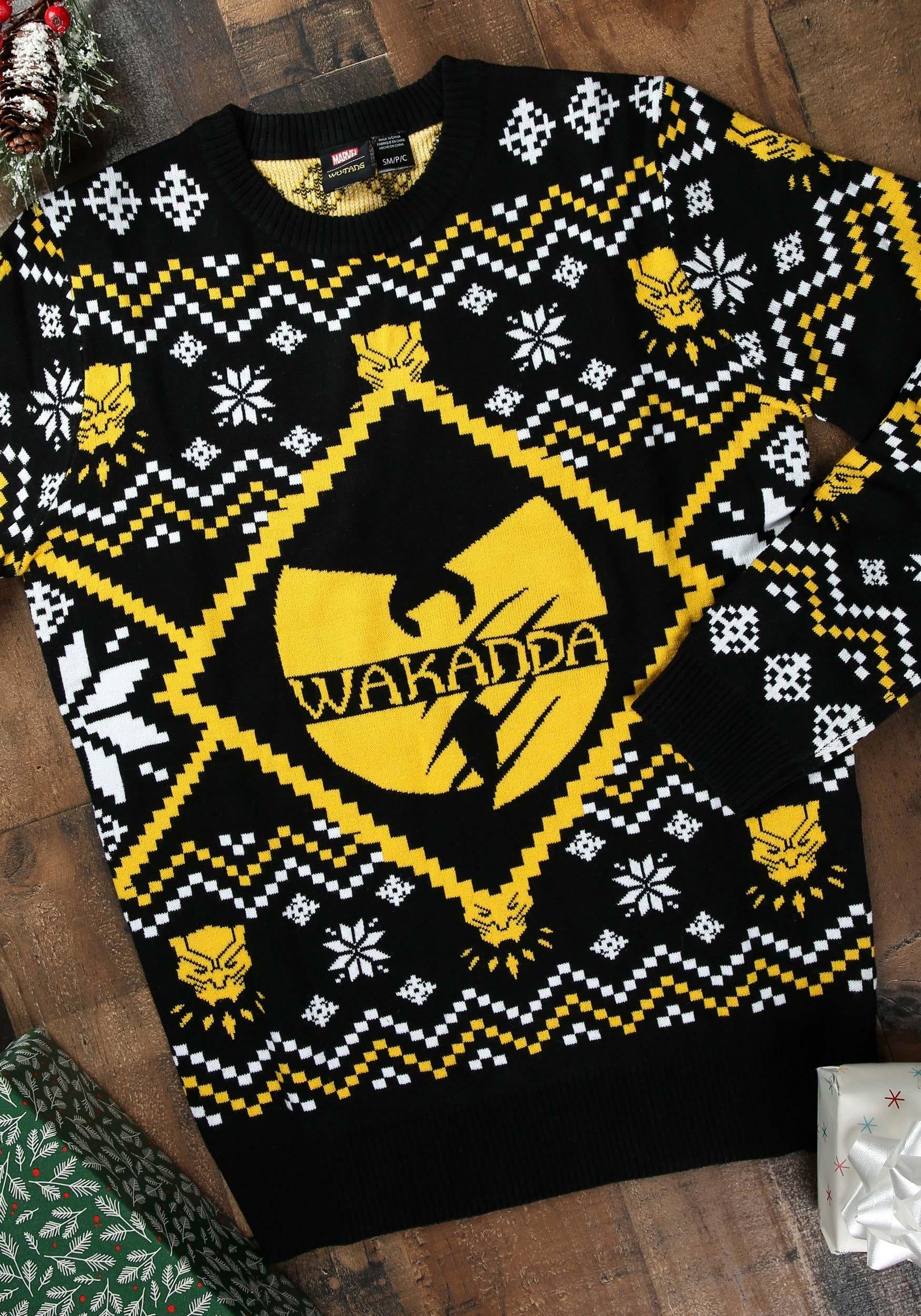 Superhero Ugly Christmas Sweaters.Black Panther Wakanda Intarsia Knit Ugly Christmas Sweater