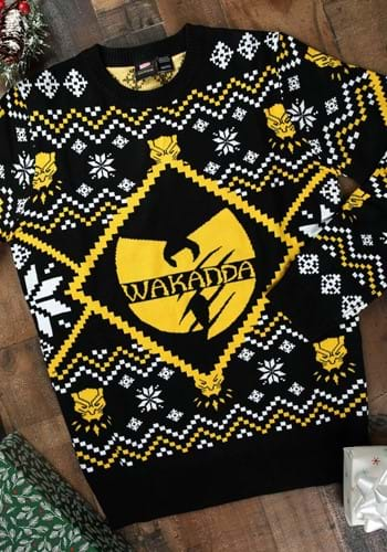 Black Panther Wakanda Intarsia Knit Ugly Christmas Sweater