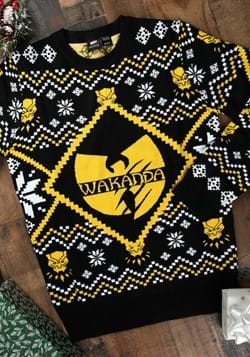 c2cab26ee40 Black Panther Wakanda Intarsia Knit Ugly Christmas Sweater