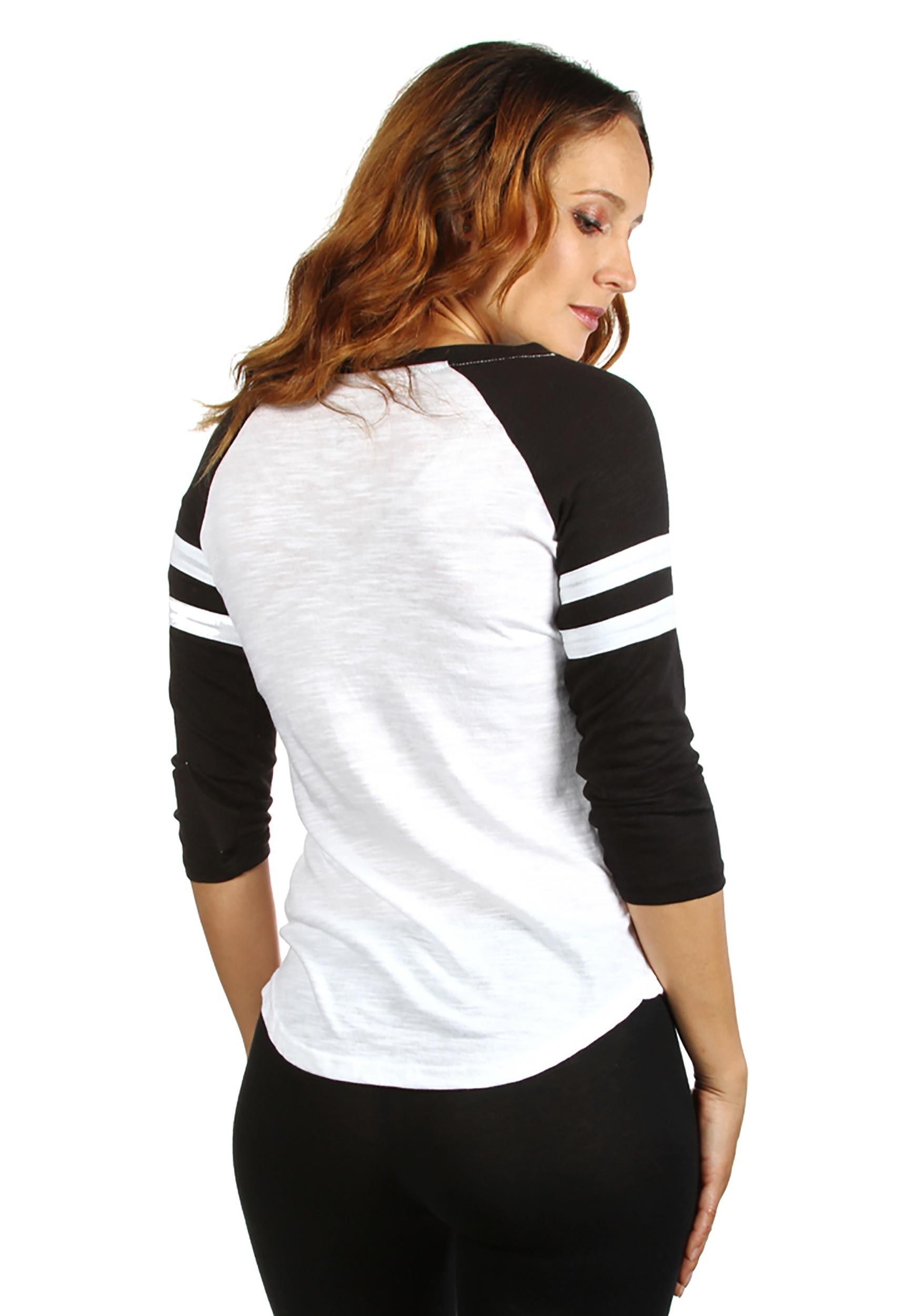 810a15f3177 Womens AC DC Fashion Black White Raglan Shirt Back